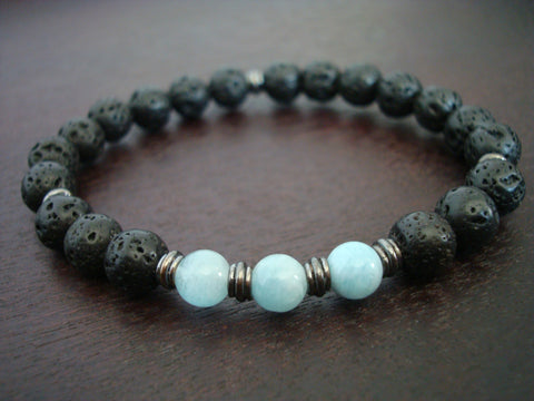 Men's Aquamarine Mala Bracelet