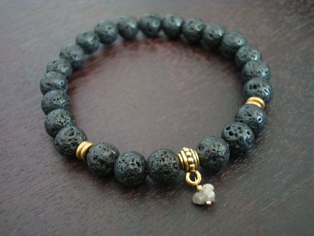 Men's Raw Diamond Mala Bracelet
