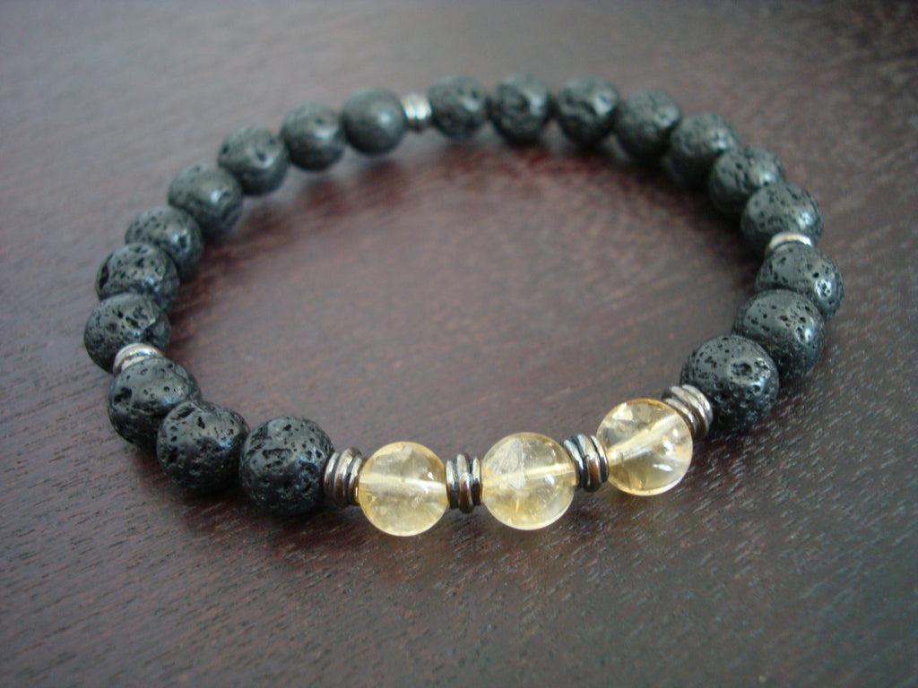 Men's Lucky Citrine Mala Bracelet