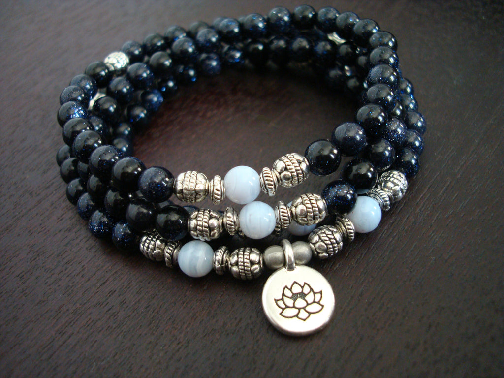 Women's Blue Goldstone Mala