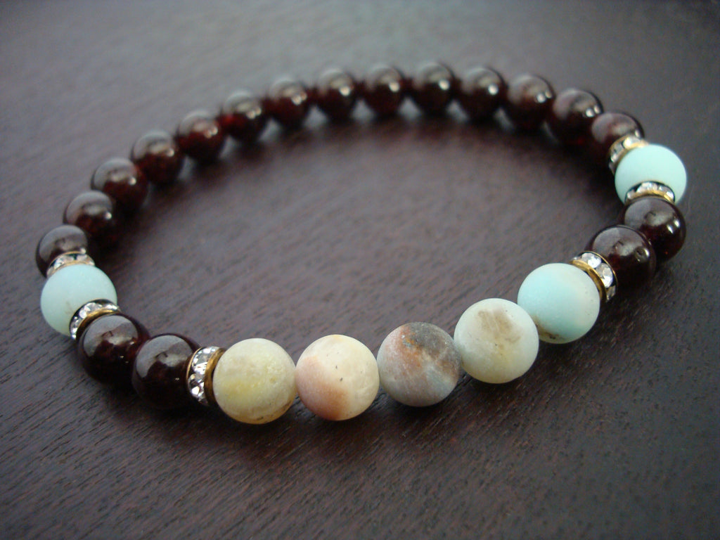 Women's Garnet Anti-Stress Mala Bracelet