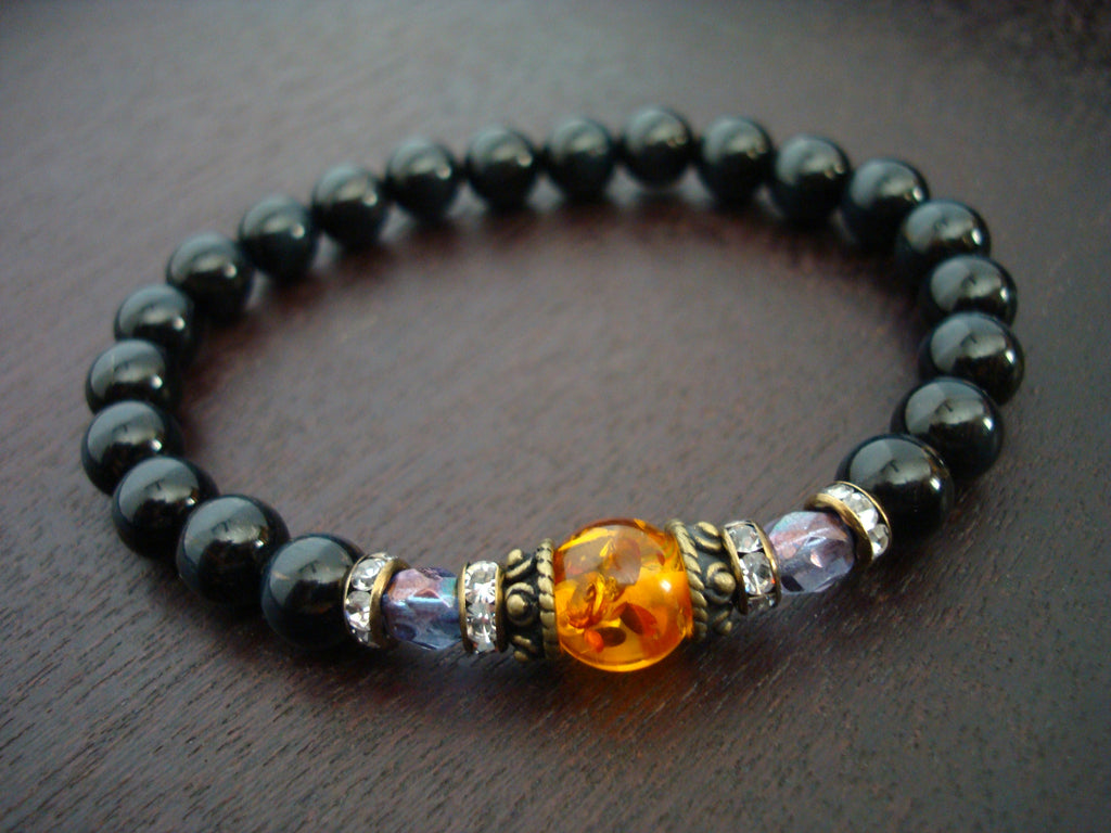 Women's Blue Tiger's Eye & Amber Bracelet