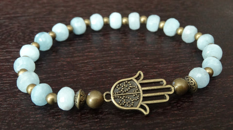 Women's Aquamarine Power Mala Bracelet