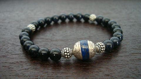 Men's Blue Goldstone Power Mala Bracelet