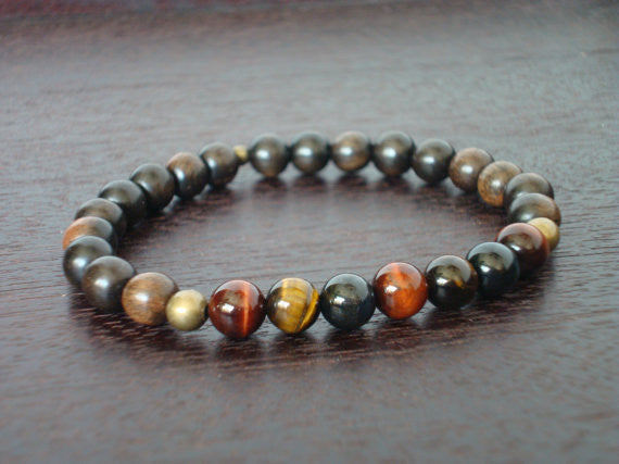 Men's Mixed Tiger's Eye Chakra Bracelet