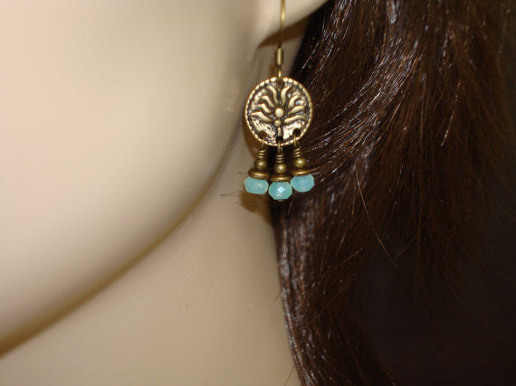 Women's Blue Opal Lotus Earrings