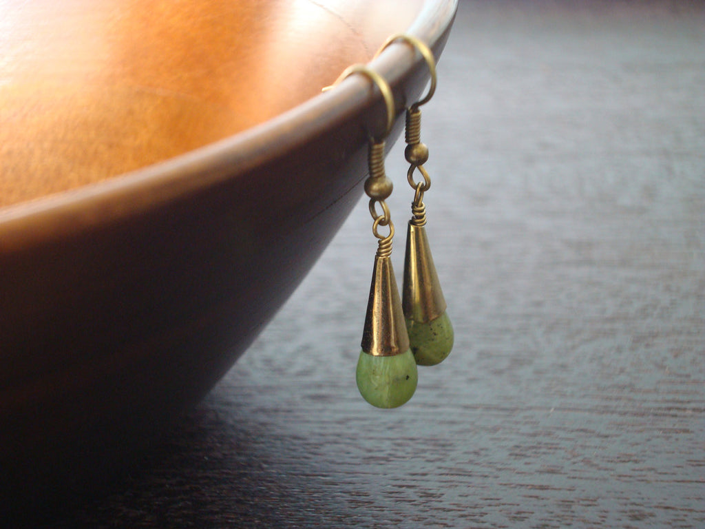 Women's Jade & Brass Earrings