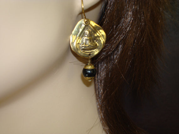 Women's Tibetan Onyx Buddha Earrings