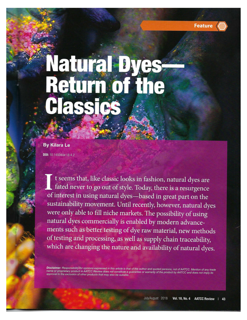 AATCC Review 2018: Natural Dyes - Return of the Classics