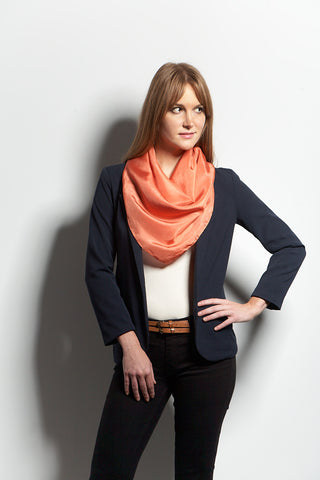 The Big Silk Scarf in Coral