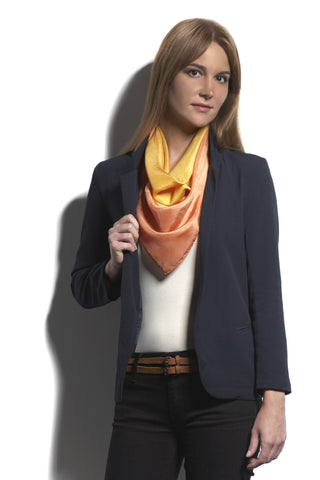 The Big Silk Scarf Dip Dyed Gold