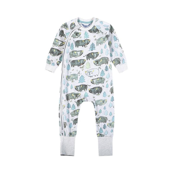 Little Wings Boys-Classic Raglan Romper-Bison