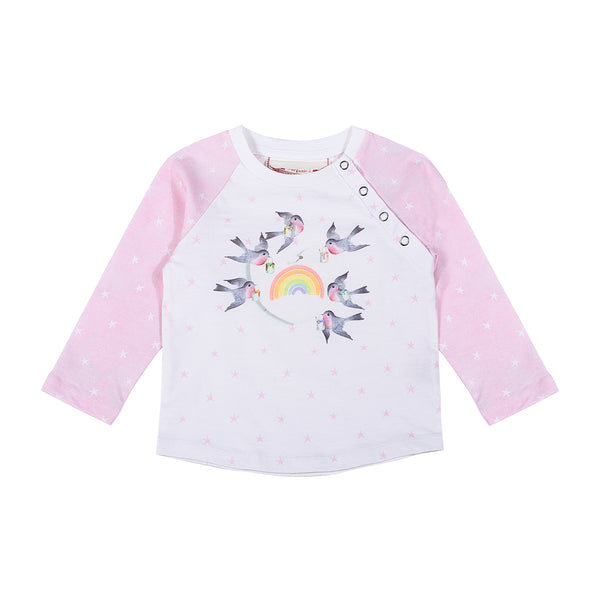 Little Wings Girls Birds and Stars Frilled Top