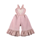 Little Wings Girls-Frilled Fleece Overalls-Folk