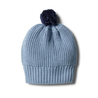 Wilson & Frenchy Faded Denim Ribbed Knitted Hat