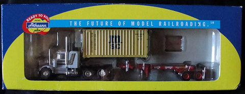 CAMION HO 1:87 ATHEARN 92639 - MSC KENWORTH WITH 20 CONTAINER AND CHASIS - DESCATALOGADO -