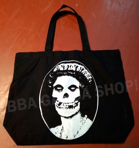 TOTE BAG MAXI - GOD SAVE THE QUEEN - MAXI BOLSA TELA NEGRA -