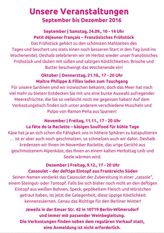 Herbst-Events bei Maître Philippe & Filles
