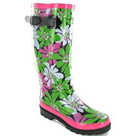 Green, pink, and white flowers wellingtons