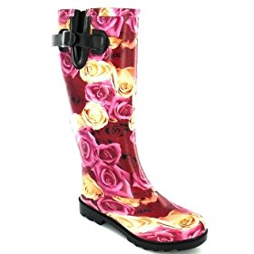 Luxury rose print wellington boot