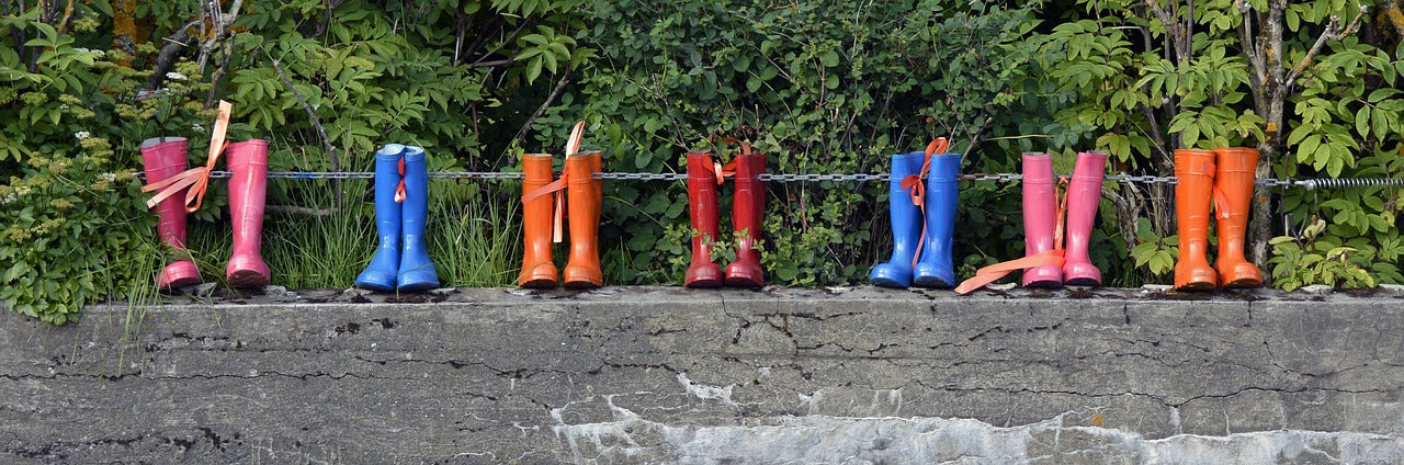Wellies on wall