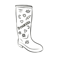 Wellington Boot with Stickers