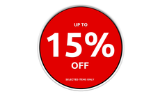 15% off discount sign