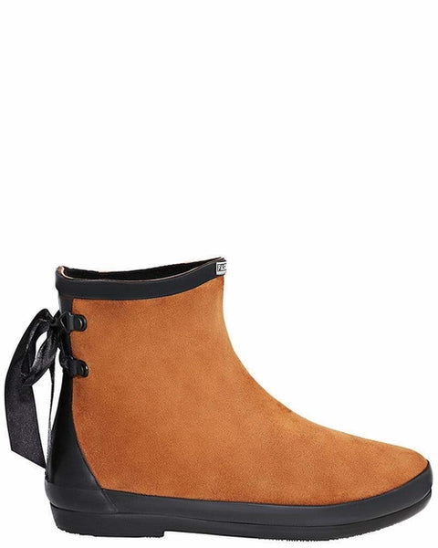Tie Up Brown Ankle Welly Boots