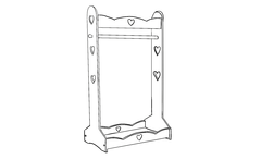 Heart Clothes Rail Outline