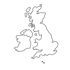 Map of the UK showing Northern Ireland/Irish Border