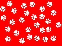 Red background white paw-prints