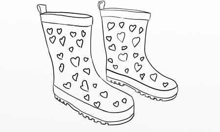 Boot with hearts outline