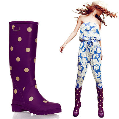 Polka Dot Rain Boots with Buckle