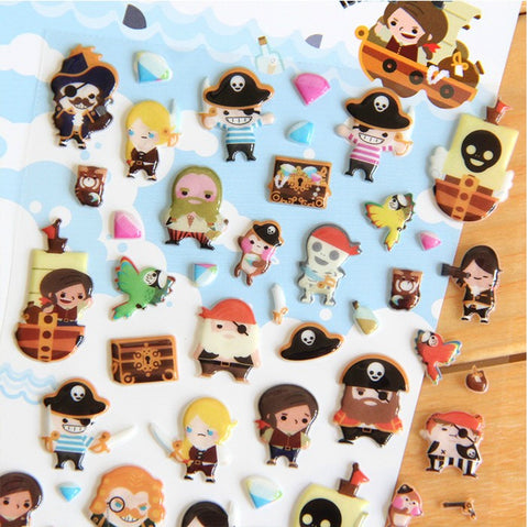 Novelty Pirate 3D Stickers Diary Sticker Scrapbook Decoration PVC Stationery Stickers