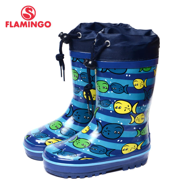 FLAMINGO branded 2017 new collection spring-autumn fashion gumboots with wool quality anti-slip kids shoes for boys 71-HL-0017