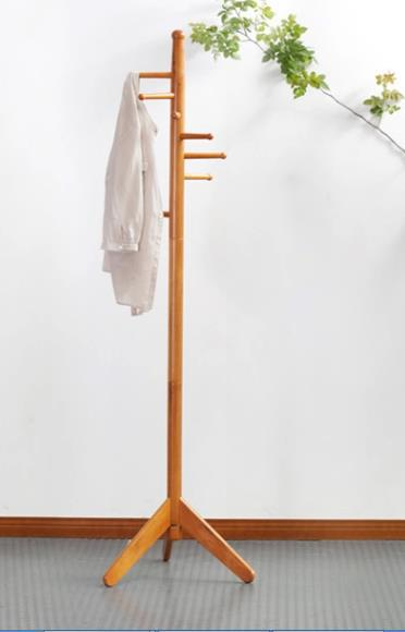 Oak coat stand with 8 wood hooks