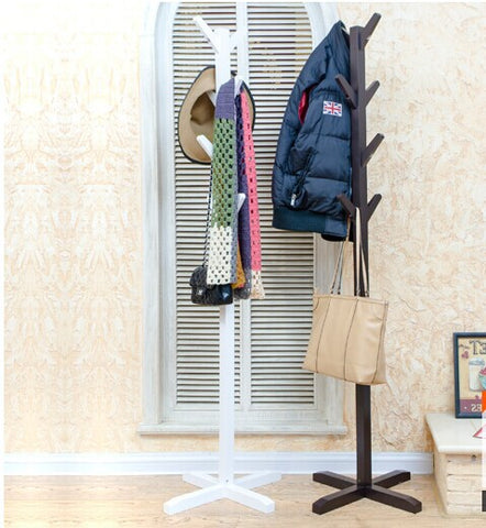 White or black coat stand in wood