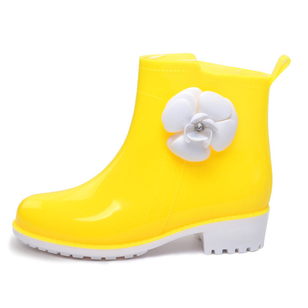 HEE GRAND Rain Boots Rubber Candy Colors Women Ankle Boots Flowers Platform Shoes Woman Casual Slip On Flats Women Shoes XWX4910