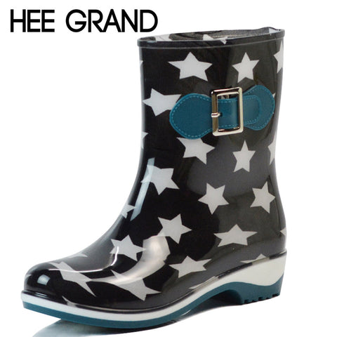 HEE GRAND Rain Boots 2017 Stars Platform Mid-Calf Women Boots Slip On Casual Shoes Woman New Flats Size 36-40 XWX4277