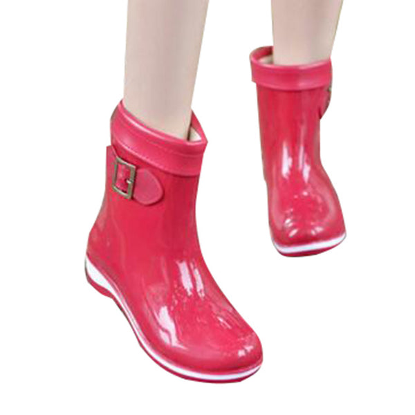HEE GRAND Winter Rainboots For Women Anti-slip Warm Boots Flat Platform Rainning Shoes Rubber Boots 7 Colors XWX2963