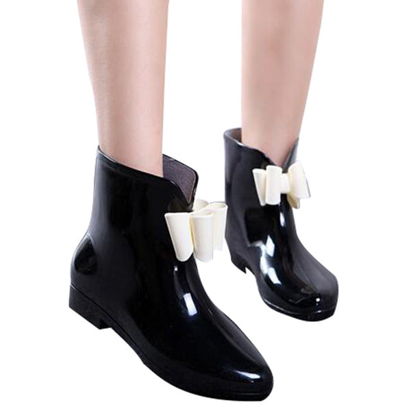 HEE GRAND Cute Short Bow Bowknot Rain Boots Rubber Flat Heel Ankle Rainboots Fashion Galoshes Rainshoes 36-40 XWX431