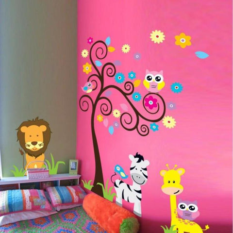 Owl, Zebra, Lion, Giraffe, Flowers, Tree Wall Stickers
