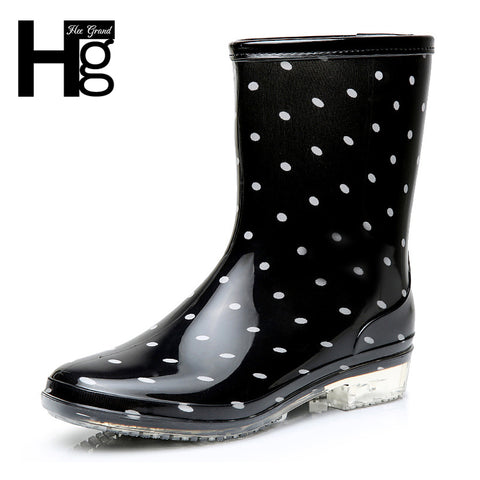 HEE GRAND 2017 Fashion Elastic Band Solid Women Rain Boot Waterproof Women Boots Rubber Low Heel Shoes XWX5822