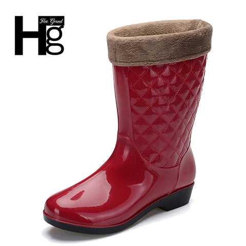 HEE GRAND Women Rain Boots Winter Mid-calf Heel Height Increasing Slip On Waterproof with Flock Shoes Woman Rain boot XWX6595