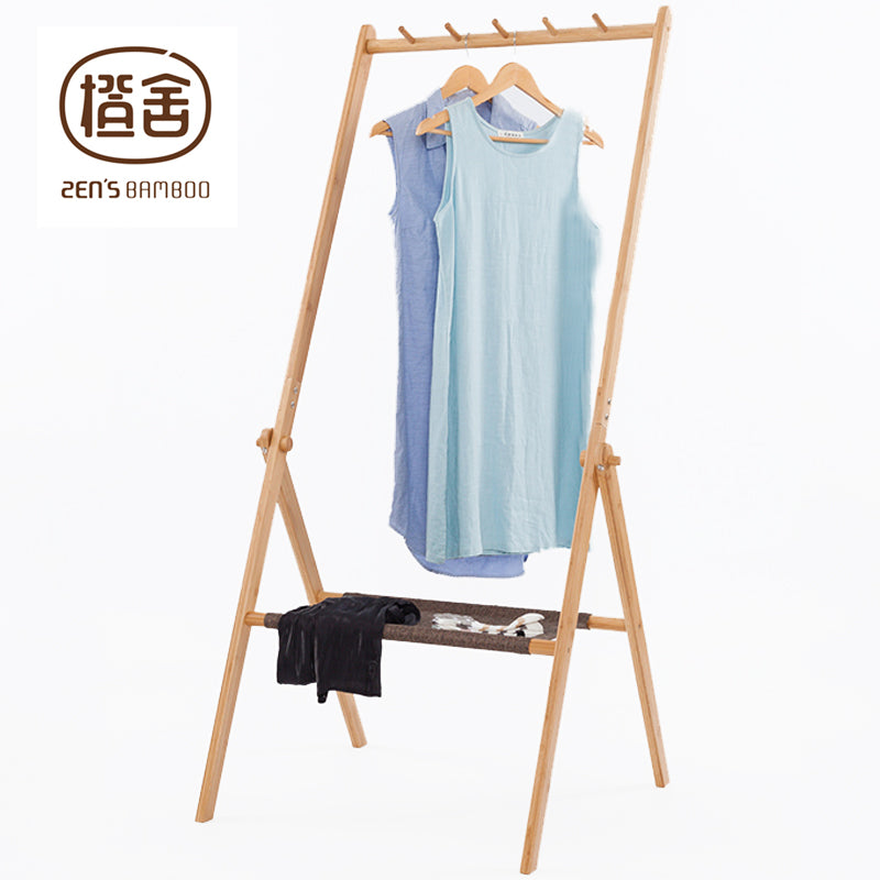Folding Easel Style Clothing Rail with Simple Shelf