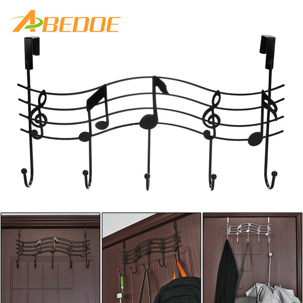 ABEDOE Over the Door 5 Hook Music Hanger Rack No Trace No Nails- Decorative Metal Hanger Space Saving Organizer for Clothes Coat