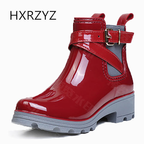 HXRZYZ women ankle rain boots spring/autumn buckle jelly shoes ladies fashion waterproof thick bottom women's high heel boots