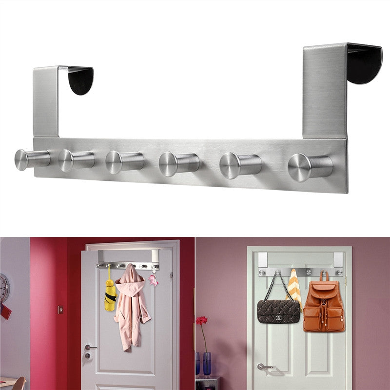 Stainless Steel Overdoor Clothes Hooks - 6 Hooks