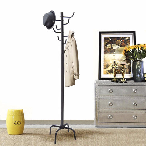 Metal Free-Standing Coat Rack with 8 Hooks