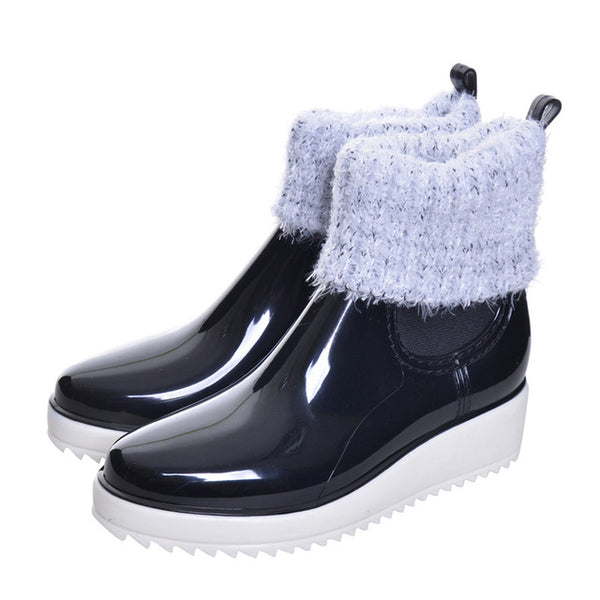 Synthetic Leather Lined Fluffy Rain boots